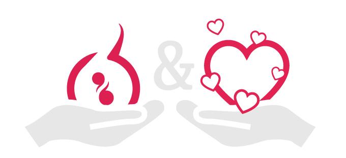 Deux mains stylisées où il est associé le logo de Graines de Mane et un coeur